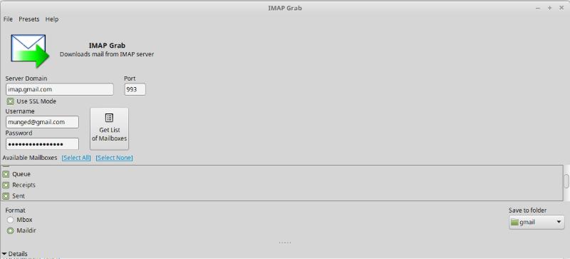 IMAP Grab Gmail setup