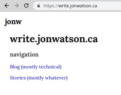write.jonwatson.ca Landing Page